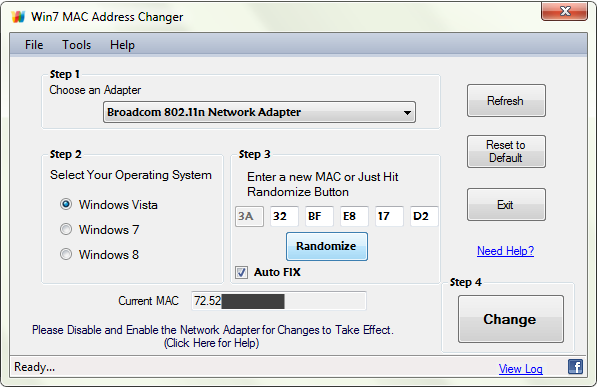 Win7 MAC Address Changer