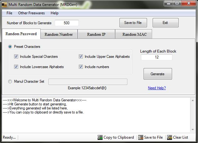 Multi Random Data Generator v1.01