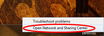 Open Windows Network Sharing Centre