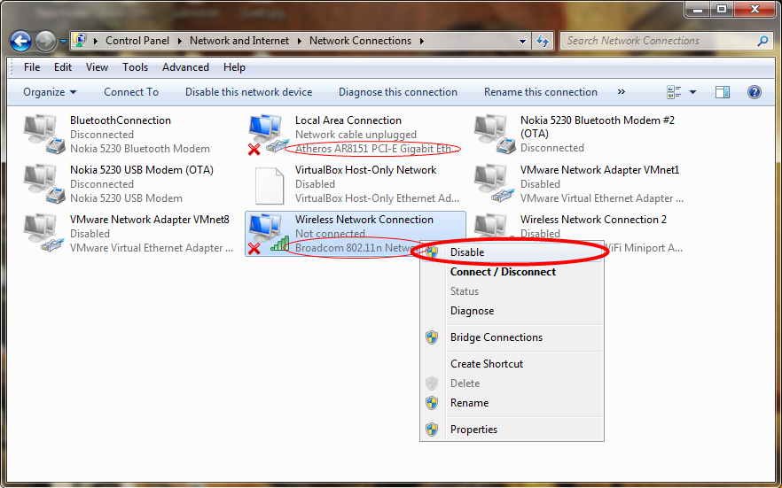 Disable Network Adapter in Windows 7