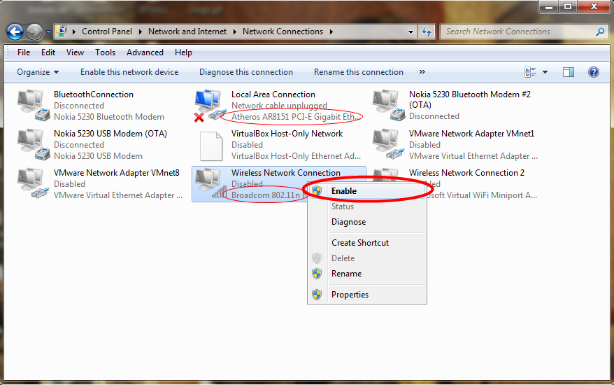 Enable Network Adapter in Windows 7